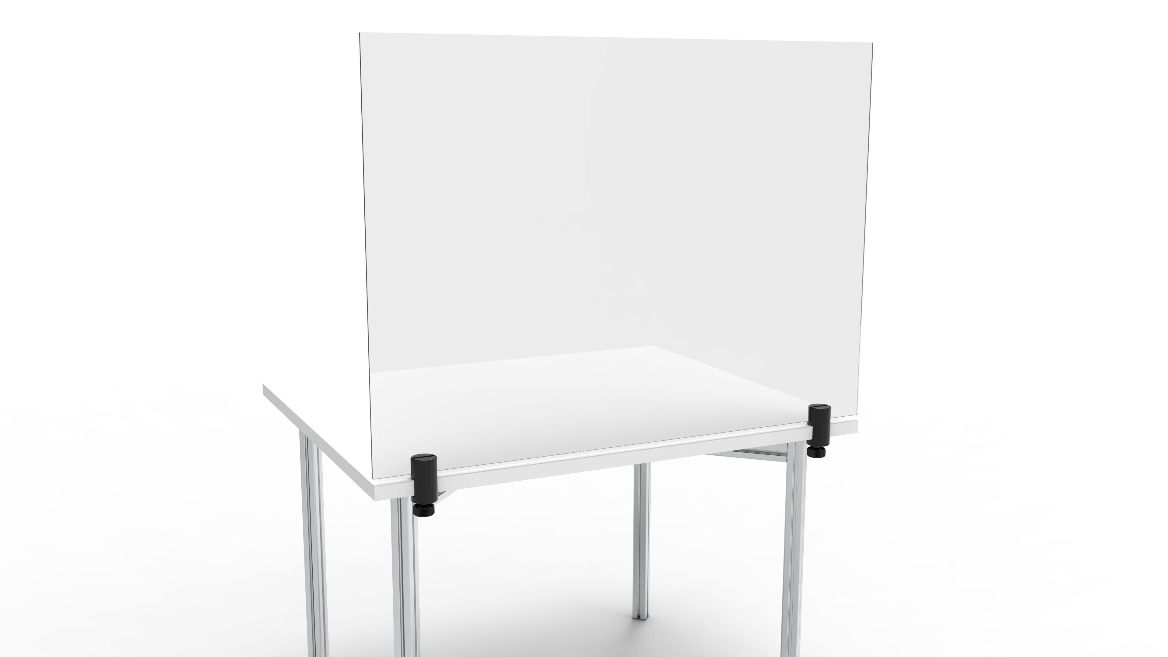 Hygieneschutzwand mit Tischbefestigung