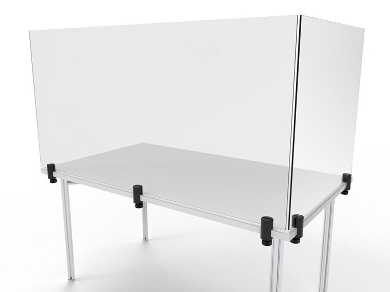 Eck-Spuckschutz mit Tischplattenklemmen