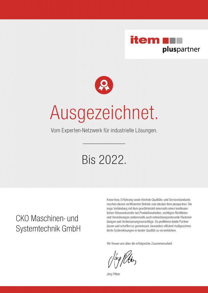CKO Maschinen- und Systemtechnik GmbH ist zertifizierter item pluspartner